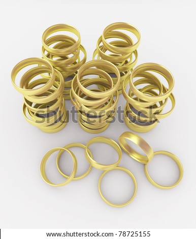 Gold wedding rings isolated on white background.