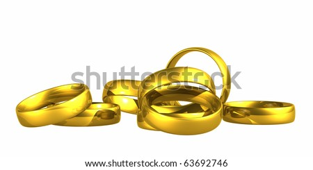 Gold wedding rings isolated on white background with clipping path.
