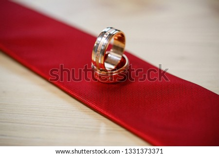 Gold wedding rings lie on a tie #1331373371
