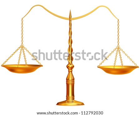 Gold weight scales on white background