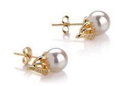 Gold White Pearl Earrings