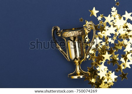Gold winners achievement trophy background #750074269