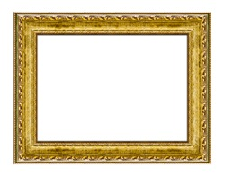 Gold wooden frame for picture or photo, frame for a mirror isolated on white background. With clipping path
