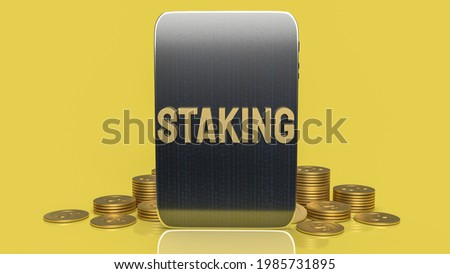 gold word staking and tablet for business or cryptocurrency concept 3d rendering. Сток-фото ©