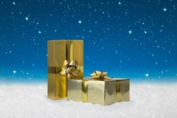 Gold Wrapped Christmas presents