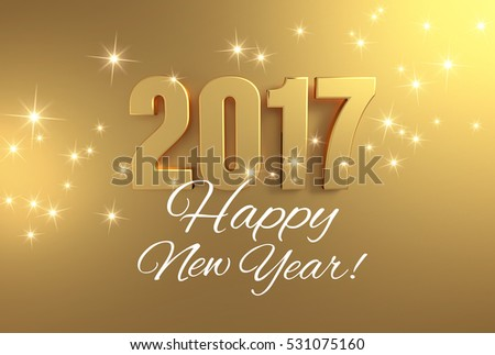 Gold 2017 year type and greetings on a bright golden background - 3D illustration #531075160