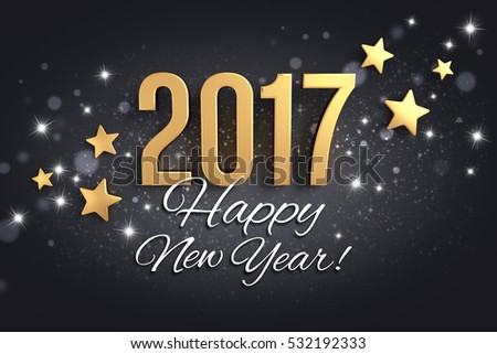 Gold 2017 year type and greetings on a festive black background - 3D illustration #532192333
