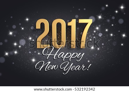 Gold 2017 year type and greetings on a festive black background - 3D illustration #532192342