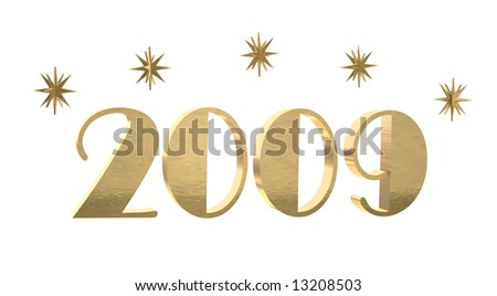 Gold year 2009 with stars on white. Stylized text and brushed gold texture.