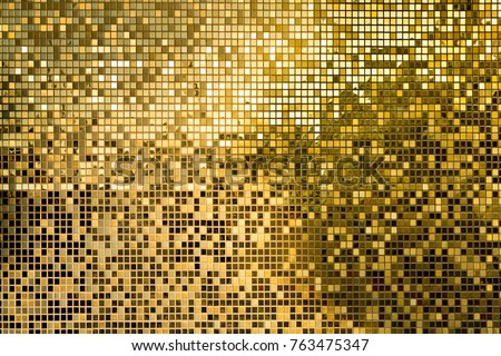 Gold yellow square mosaic tiles for texture background