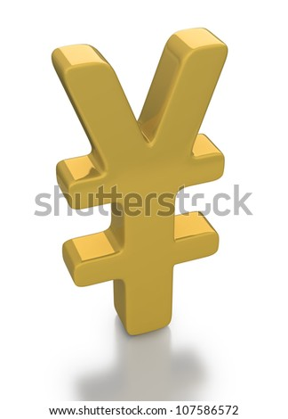 Gold Yen Currency Icon or Symbol on a white background