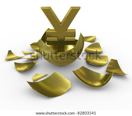 Gold yen sign hatched from eggs of gold