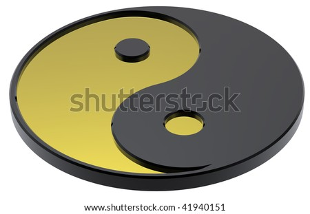 Gold Yin-Yang, symbol of harmony. Computer generated 3D photo rendering.