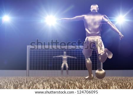 Golde Soccer player shooting at the soccer goal stadium