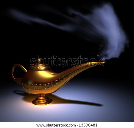 Golden Aladdin lamp smoking - rendered in 3d