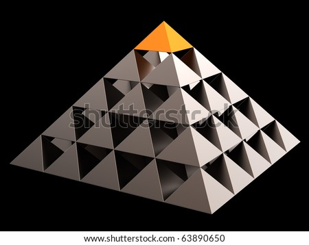 Golden all seeing eye financial pyramid abstract. Leadership concept. This is a detailed 3D render (Hi-Res). Isolated on black