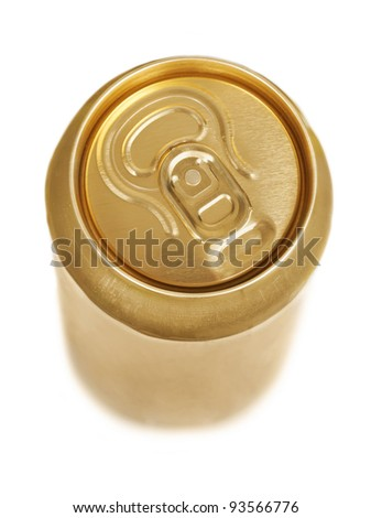 Golden aluminum drink can isolated over white background