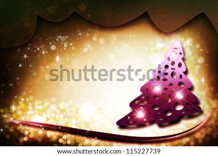 Golden and pink background with christmas tree for christmas of new year greeting card