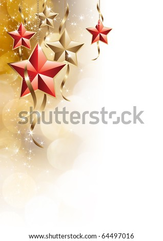 Golden and shiny stars on white isolated background