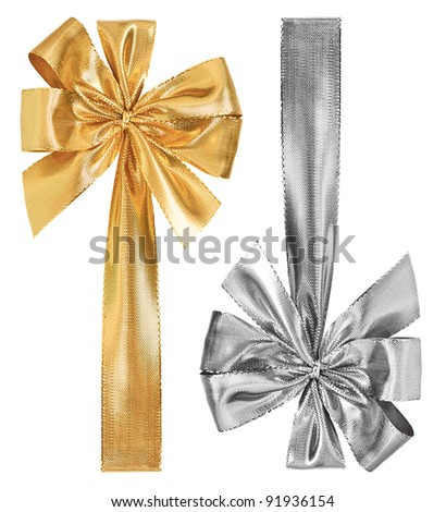 golden and silver bow isolated on white