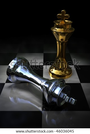 golden and silver kings on a chess board