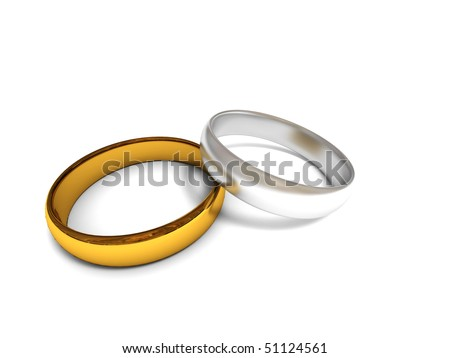 stock photo Golden and silver wedding rings isolated on white background