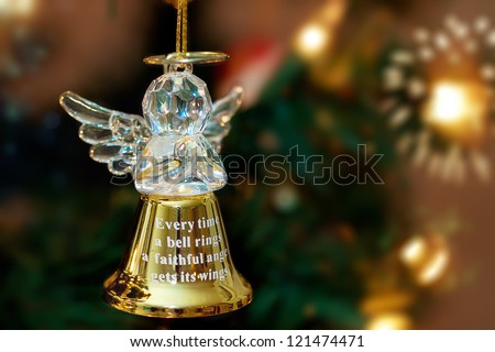 Golden Angel Bell on a Christmas Tree