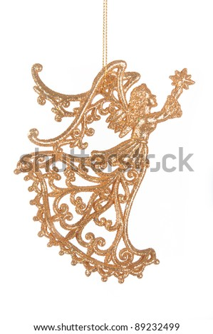 golden angel Christmas decorations isolated on white background