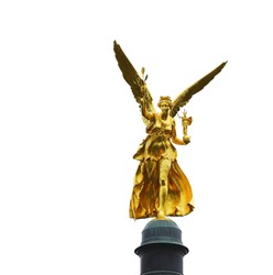Golden Angel of peace in Munich isolated on white background