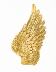 Golden angel wing isolated on white backgorund. Beautiful mythological wing. Gold design element. Divinity concept.