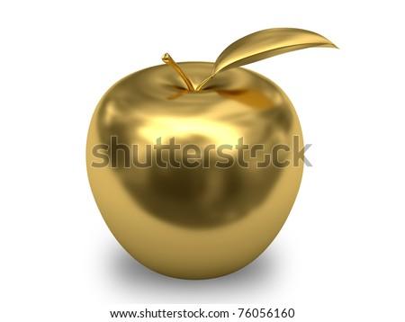 Golden apple on white background. High resolution 3D image.