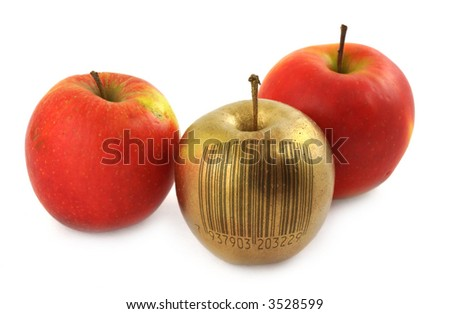 golden apple with bar code isolated on white background (bar code is fake, no copyright infringement)