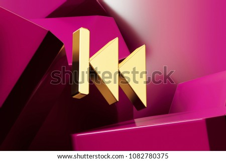 Golden Arrow Fast Backward Icon With the Magenta Glossy Boxes. 3D Illustration of Fine Golden Arrow, Audio, Back, Backward, Button, Fast, Left Icon Set on the Magenta Geometric Background. #1082780375