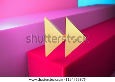 Golden Arrow Forward Icon on the Magenta and Cyan Geometric Background. 3D Illustration of Gold Arrow, Forward, Next, Play, Right Icon Set With Color Boxes on Magenta Background.
