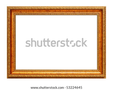 Golden art frame isolated on white