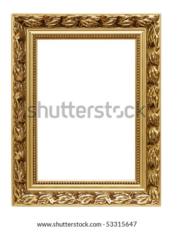 Golden art frame isolated on white - stock photo