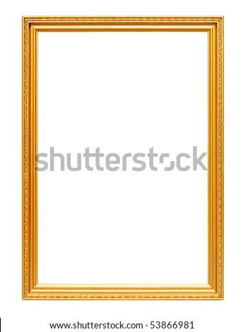 Golden art frame isolated on white