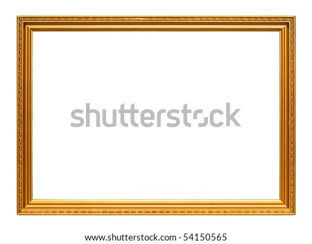 Golden art frame isolated on white background