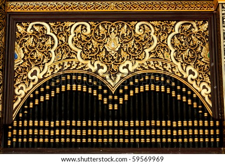 Golden Art in The Temple - stock photo