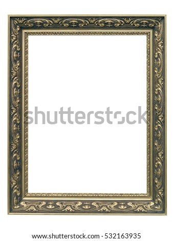 Golden Art Nouveau Frame isolated on white background