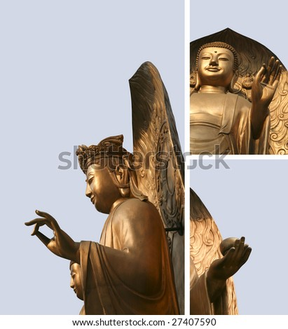 Golden Asian Buddha Triptych Collage