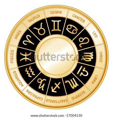 Golden Astrology Wheel.  12 horoscope signs of the zodiac with titles on a black background: Aquarius, Aries, Cancer, Capricorn, Gemini, Leo, Libra, Pisces, Sagittarius, Scorpio, Taurus, Virgo.