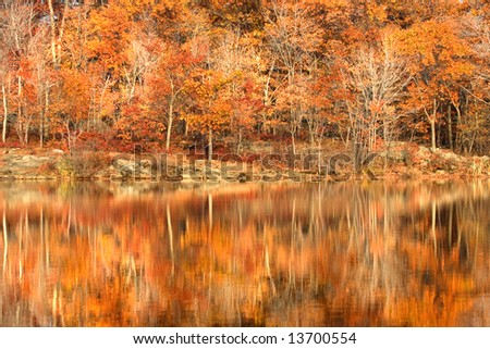 Golden autumn foliage around New Jersey lake in Appalachian mountains - stock photo