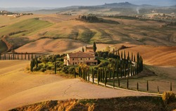 Golden Autumn in Val d'Orcia, Tuscany. Italy. Tuscany landscape. Europa