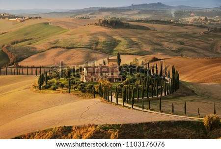 Golden Autumn in Val d'Orcia, Tuscany. Italy. Tuscany landscape. Europa #1103176076