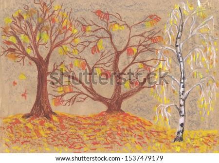Golden autumn, listopad. Children 's drawing, pastel, paper Zdjęcia stock ©