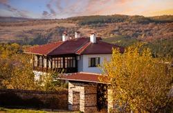 Golden autumn sunset over the village of Arbanasi near Veliko Tarnovo, Bulgaria