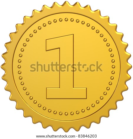 Golden award first place medal badge. Winner achievement pride symbol design element. Number One quality success leadership concept. Detailed 3d render. Isolated on white background