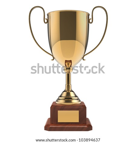 Golden award trophy isolated on white background with clipping path.