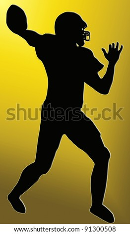 Golden Back Silhouette - American Football player throws pass